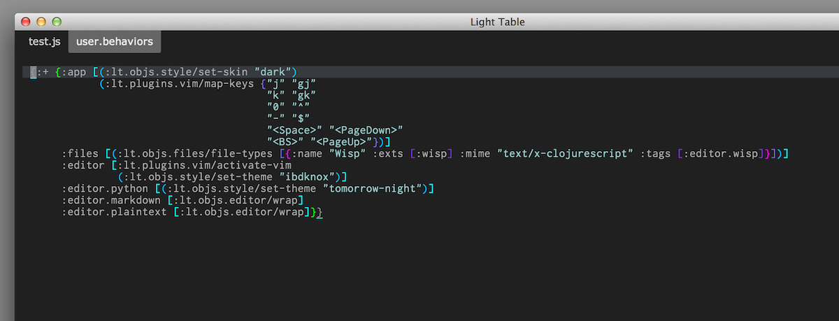 Light Table 0.5.0 - behaviors